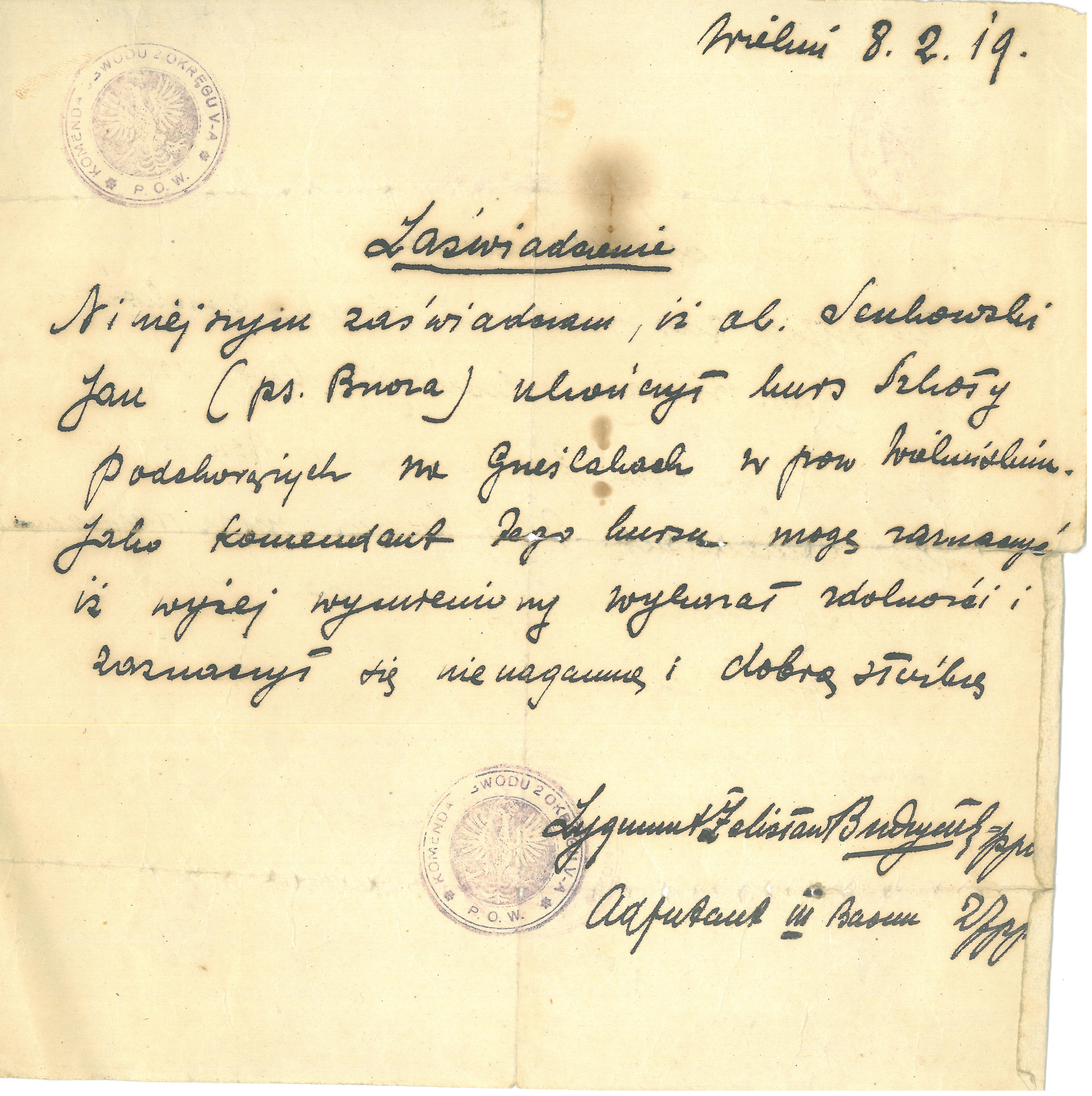 1.-Zaświadczenie-dla-Jana-Sękowskiego-o-ukończeniu-kursu-podchorążych-na-Grzęslakach-w-powiecie-wieluńskim-1919-r.