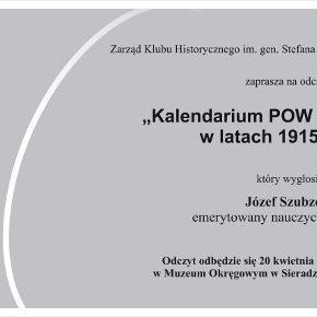 Kalendarium POW w sieradzkim w latach 1915-1918